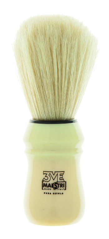 B02 - Shaving Brush Ivory color plastic handle - Bleached Bristles