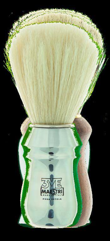 BPC1 - Pennello barba professionale cromato lucido-setola sbiancata